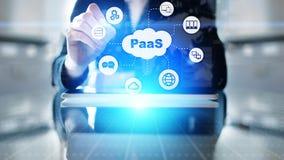 PaaS - plattform som en service, en internetteknologi och ett utvecklingsbegrepp royaltyfri bild