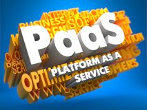 PAAS. Wordcloud Concept. PAAS - Platform-as-a-Service - on  Yellow WordCloud on Blue Background Royalty Free Stock Images