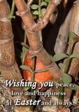 Paasei en een tekst ` die u vrede, liefde en geluk wensen in Pasen en altijd ` Stock Foto's