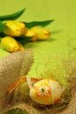 Paasei en tulpen Stock Afbeeldingen