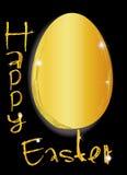 Paasei in gouden, gelukkige Pasen-Teksten Stock Foto