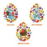Paasei Hunt Spring Flowers Composition vector illustratie