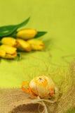 Paasei met bloem en decoratie Royalty-vrije Stock Foto