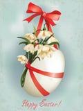 Paasei met bloemen en ribbons1 Stock Afbeelding