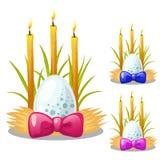 Paasei met boog en brandende kaarsen die met gras en stro wordt verfraaid Symbool en decoratie voor vakantie Vector vector illustratie