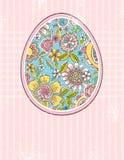 Paasei met de lentebloemen, vector stock illustratie