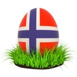 Paasei met vlag van Noorwegen in het groene gras, het 3D teruggeven stock illustratie
