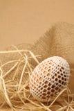 Paasei met witte crochet decoratie Royalty-vrije Stock Afbeeldingen