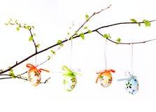 Paasei op een tak met bladeren Royalty-vrije Stock Foto's
