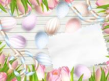 Paasei, tulpen en lege uitstekende kaart Eps 10 Royalty-vrije Stock Afbeeldingen