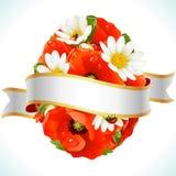 Paasei van bloemen van camomiles en papavers Royalty-vrije Stock Foto