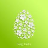 Paasei van Witte Bloemen Royalty-vrije Stock Foto's