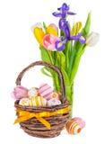Paaseieren in een mand en de lentebloemen Stock Fotografie