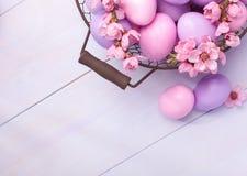 Paaseieren en bloeiende perziktak Royalty-vrije Stock Afbeeldingen