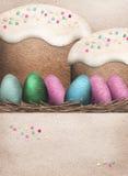 Paaseieren en de Cakes van Pasen stock illustratie