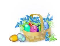 Paaseieren en de lentebloemen Stock Illustratie