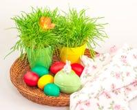 Paaseieren en decoratie met gras Stock Foto's