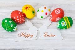 Paaseieren en konijnen Gelukkige Pasen Royalty-vrije Stock Foto's