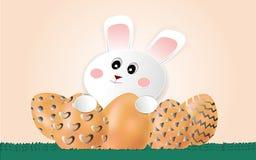 Paaseieren en leuk weinig witte konijnkunst en stijl, digitale ambachten, achtergrondafbeeldingen, illustraties - vector stock illustratie