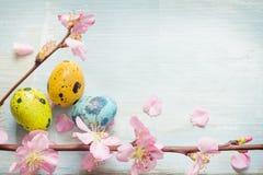 Paaseieren en retro blauwe achtergrond van de kersenbloesem Royalty-vrije Stock Afbeelding