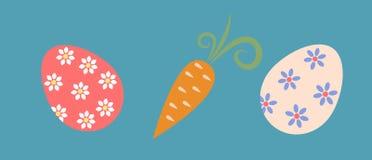 Paaseieren en wortelen Royalty-vrije Stock Foto's