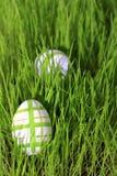 Paaseieren in Gras Stock Afbeelding