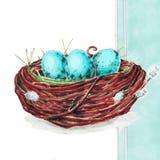 Paaseieren in het nest op blauwe achtergrond stock afbeelding