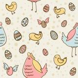 Paaseieren, kip en kippen naadloze textuur Stock Afbeeldingen