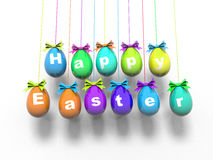 Paaseieren met de woorden - Gelukkige 3d Pasen geeft terug Stock Afbeelding