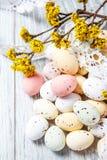 Paaseieren met een de lentetak in bloesem Royalty-vrije Stock Afbeelding