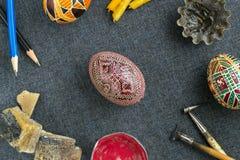 Paaseieren met ornament Stock Foto