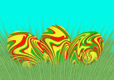 Paaseieren op het gras royalty-vrije stock foto