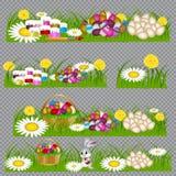 Paaseieren op het groene gras royalty-vrije illustratie