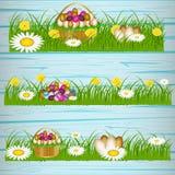 Paaseieren op het groene gras vector illustratie