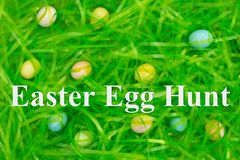 Paaseijacht met het groene gras van Pasen met verborgen eieren stock foto's
