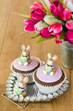 Paashaas Cupcakes royalty-vrije stock foto