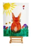 Paashaas die op canvas wordt geschilderd Stock Fotografie