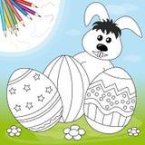 Paashaas en eieren vector illustratie