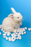 Paashaas en eieren op blauwe dichte omhooggaand Royalty-vrije Stock Foto