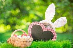 Paashaas en eieren op groen gras Royalty-vrije Stock Afbeelding