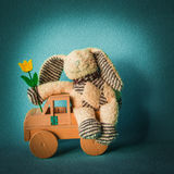 Paashaas met een tulp die in een auto reizen Royalty-vrije Stock Fotografie