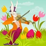 Paashaas met viool Stock Afbeelding