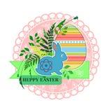 Paashaas op de achtergrond van eieren en greens vector illustratie