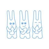 Paashaaspret de kleuring van drie paaseierenkinderen ` s vector illustratie