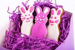 Paashazen De koekjes van peperkoekpasen in vorm van konijntje Witte achtergrond Stock Fotografie