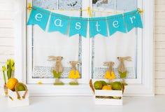 Paashazen en eieren Stock Fotografie