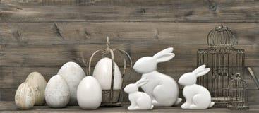 Paashazen en eieren retro stijldecoratie Stock Afbeeldingen