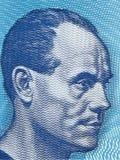 Paavo Nurmi stående från finlandssvenska pengar Arkivfoto