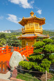 Pabellón de oro en Nan Lian Garden en Diamond Hill en Hong Kong foto de archivo libre de regalías