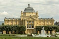 Pabellón del arte en Zagreb en tiempo de primavera imagen de archivo libre de regalías